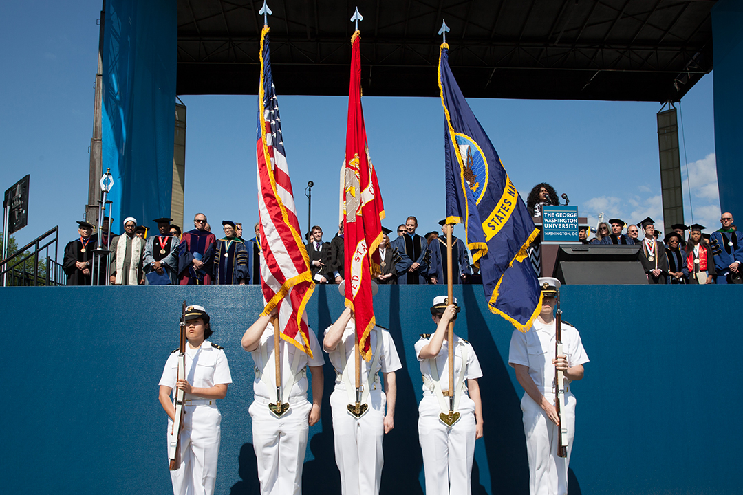 Photo of military graduates at commencement