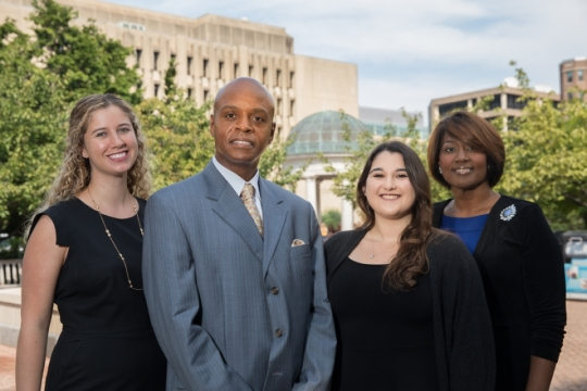 Title IX Office staff members: Kiera Bloore, Rory Muhammad, Christina Franzino and Herbertia Gilmore